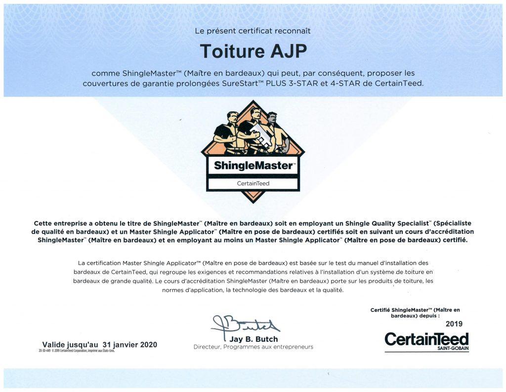 certification shingle master